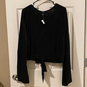Rue 21 Black V-Neck Bell Sleeve Tie Back Blouse